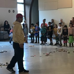 PGK Mark Distasio explains the rules before the mad dash for candy. Rain forced the event indoors but did not disappoint!